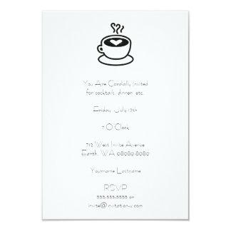 """Cocido al vapor de la taza de café al vapor con invitación 3.5"""" x 5"""""""