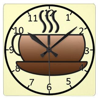 Cocido al vapor de la taza de café al vapor reloj cuadrado