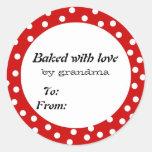 Cocido con el lunar del rojo del amor pegatina redonda