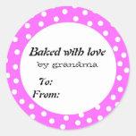 Cocido con el lunar del rosa del amor pegatina redonda
