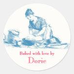 Cocido con los pegatinas del amor etiqueta redonda