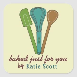 Cocido para usted por los pegatinas de Katie Calcomanía Cuadradase