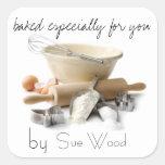 Cocido por USTED etiquetas del regalo Pegatina Cuadrada