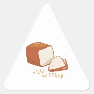 Cocido y untado con mantequilla pegatina triangular