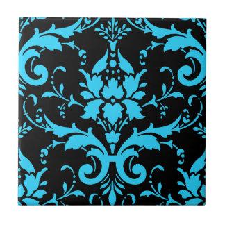 Cocina a juego de la turquesa y del damasco negro azulejo cuadrado pequeño