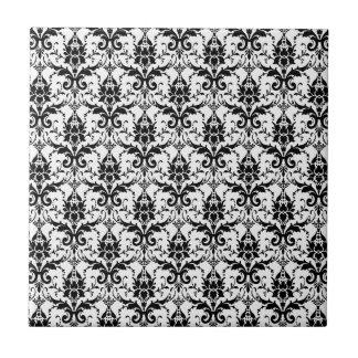 Cocina a juego del damasco blanco y negro azulejo cuadrado pequeño