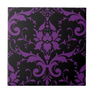 Cocina a juego del damasco púrpura y negro azulejo cuadrado pequeño