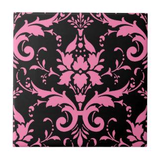 Cocina a juego del damasco rosado y negro azulejo cuadrado pequeño