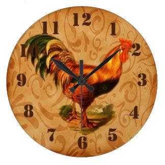 Cocina adornada del gallo rústico del país reloj redondo grande