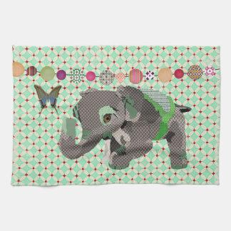 Cocina adornada verde afortunada del elefante y de toallas de mano