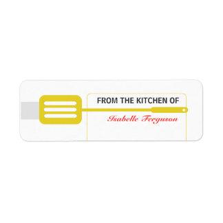 Cocina amarilla de la espátula etiquetas de remite