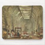 Cocina antigua, castillo de Windsor, grabado por W Alfombrillas De Ratones