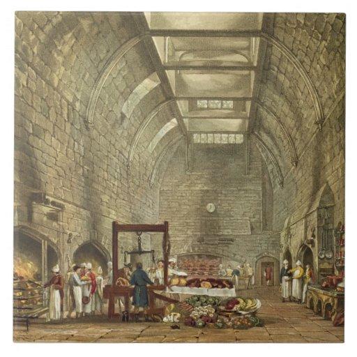 Cocina antigua, castillo de Windsor, grabado por W Azulejo Cuadrado Grande