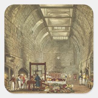 Cocina antigua castillo de Windsor grabado por W Calcomanias Cuadradas