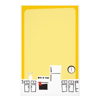 Cocina blanca retra que cocina los efectos de escr papelería