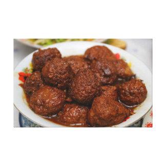Cocina china - bola de carne impresiones en lienzo estiradas