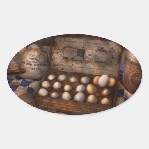 Cocina - comida - huevos - 18 huevos pegatina ovalada