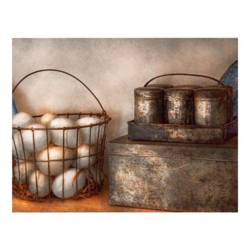 Cocina - comida - huevos - frescos esta mañana tarjetón