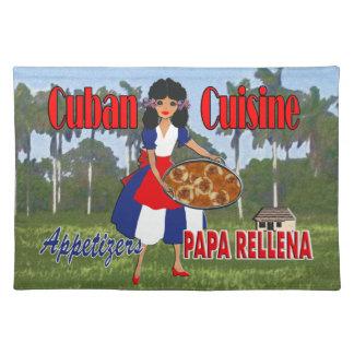 Cocina cubana, aperitivo Placemat - papá Rellena Manteles