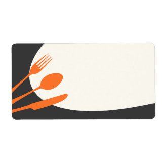 Cocina de enlatado moderna en blanco anaranjada etiqueta de envío