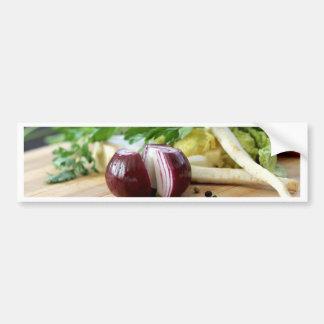 Cocina de la cebolla etiqueta de parachoque