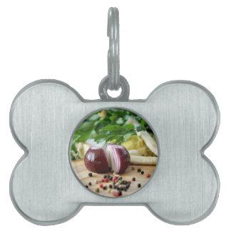 Cocina de la cebolla placa de mascota