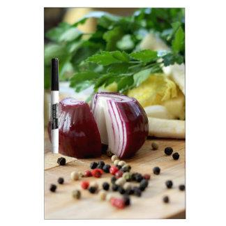 Cocina de la cebolla pizarras blancas