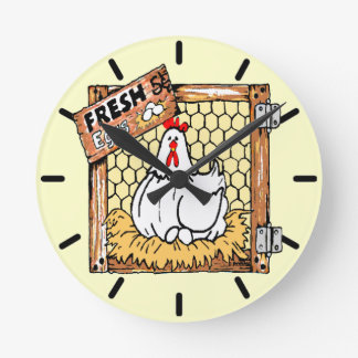 Cocina de la gallina y del Huevo-País Reloj Redondo Mediano