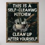 Cocina de la limpieza de uno mismo impresiones