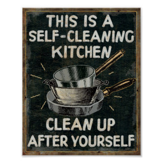 Cocina de la limpieza de uno mismo póster