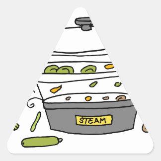 Cocina de la máquina del vapor pegatina triangular