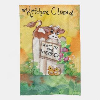 Cocina de la vaca cerrada no en el humor toallas de cocina