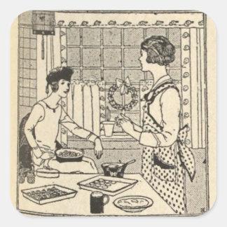 Cocina del día de fiesta pegatina cuadrada
