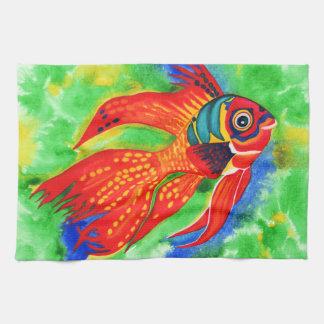 Cocina del diseño de los pescados/toalla de mano t