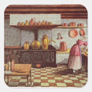 Cocina del hotel St.Lucas Pegatina Cuadrada