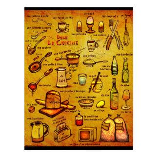 Cocina del La de Dans - tarjeta francesa del vocab Postales