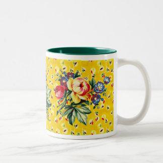 Cocina del vintage - edredón soleado - taza floral