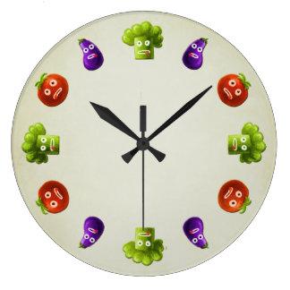 Cocina divertida de las verduras del dibujo animad relojes