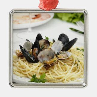 Cocina italiana. Alle vongole. de los espaguetis Adorno Cuadrado Plateado