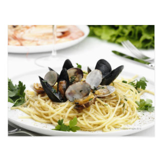Cocina italiana. Alle vongole. de los espaguetis Tarjeta Postal