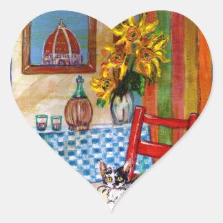 COCINA ITALIANA EN el corazón de FLORENCIA Pegatina Corazón