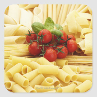 Cocina italiana. Pastas y tomates Pegatina Cuadrada