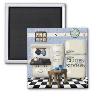Cocina libre del gluten - azul imán de nevera