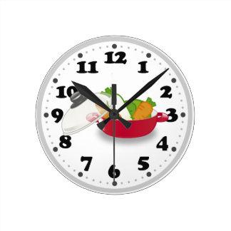 Cocina linda reloj redondo mediano