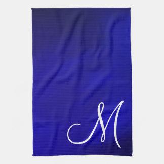 Cocina metálica Towell del azul real del monograma Toallas De Mano