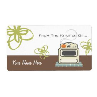 Cocina moderna de la estufa retra de la cocina de… etiqueta de envío