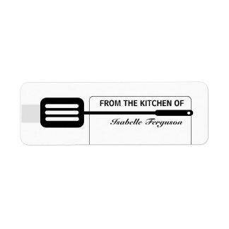 Cocina negra de la espátula etiquetas de remite