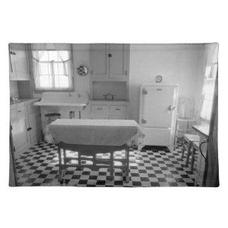 Cocina Placemat de la granja de la Depresión-Era Mantel