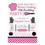 Cocina que cocina a la fiesta de cumpleaños invitación personalizada