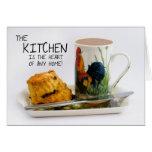 Cocina que dice la tarjeta de nota con té de tarde